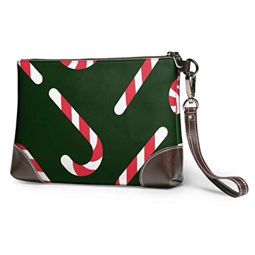 JINCAII Weiche wasserdichte Damen Geldbörsen Wristlet Weihnachten Lollipop Dessert Leder Brieftasche Wristlet mit Reißverschluss für Frauen Mädchen