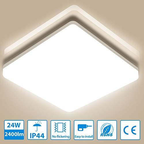 Deckenleuchte LED Deckenlampe 24W, Oeegoo IP44 Badlampe, 2400LM Schlafzimmerlampe Ideal für Badezimmer Schlafzimmer Küche Balkon Korridor Büro Esszimmer Wohnzimmer, 4000K Neutralweiß 33x33x4.8cm