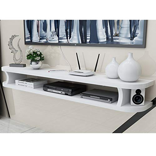 XITER-shelf Floating Shelf for TV Components Wall Media Console TV Stand Shelf for DVD Blu-Ray Players Satellite TV Box Cable Box Accessories Shelving (Color : White, Size : 80cm)
