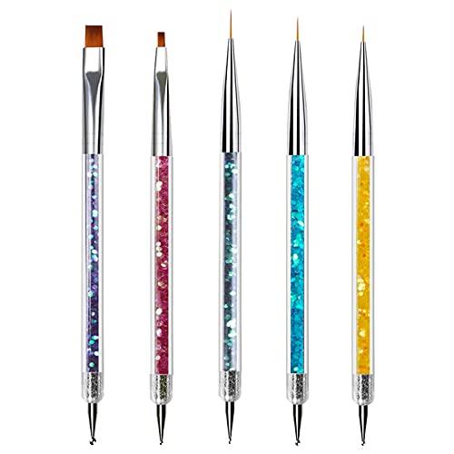 5 Stücke Nagel Kunst Punktierung Stifte Kit Enthalten, Nail Art Dotting Pen Tools, UV Gel und Acrylfingernägel Nailart Maniküre Nagelzubehör für DIY Nail Art Design