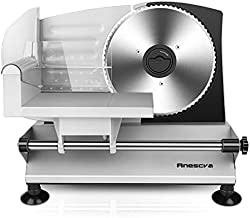 Meat Slicer, Anescra Electric Deli Food Slicer with Removable Stainless Steel Blade and Food Carriage, Adjustable Thickness Food Slicer Machine For Meat, Cheese, Bread, Home Use, Easy To Clean(150W)