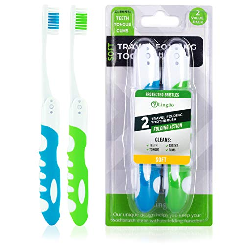 Travel Toothbrush, Portable Toothbrush Built in Cover, Travel Size Toothbrush for Hiking, Camping, and Traveling, Folding Toothbrushes, Collapsible Blue-Green Travel Toothbrush Kit (2 Pack-Soft)