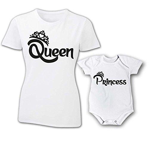 Coppia T-Shirt e Bodino Donna Bambino Festa della Mamma Queen And Prince Princess con Corona T-Shirt Bianche Queen e Princess Donna M - Bimbo 3 Mesi