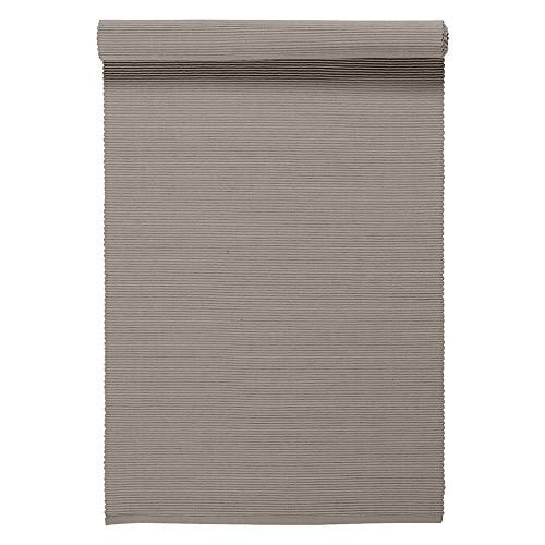 Linum Uni Dekoratives Tischläufer für Esstisch 45cm x 150cm, 100% Gerippte Baumwolle, Maschinenwaschbar, Maulwurfbraun