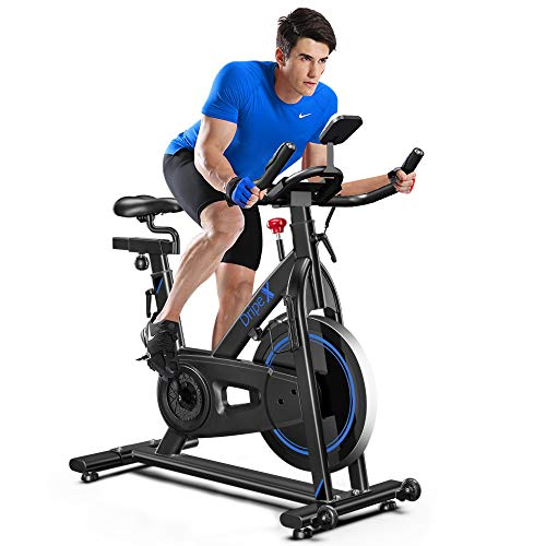 Dripex Magnetic Resistance Indoor Exercise Bike (2021 Upgraded Version), Studio Quality, 35 LBS Flywheel Weight, Weight Capacity 330 LBS, LCD Monitor, Pulse Sensor, Water Bottle Holder (Blue)