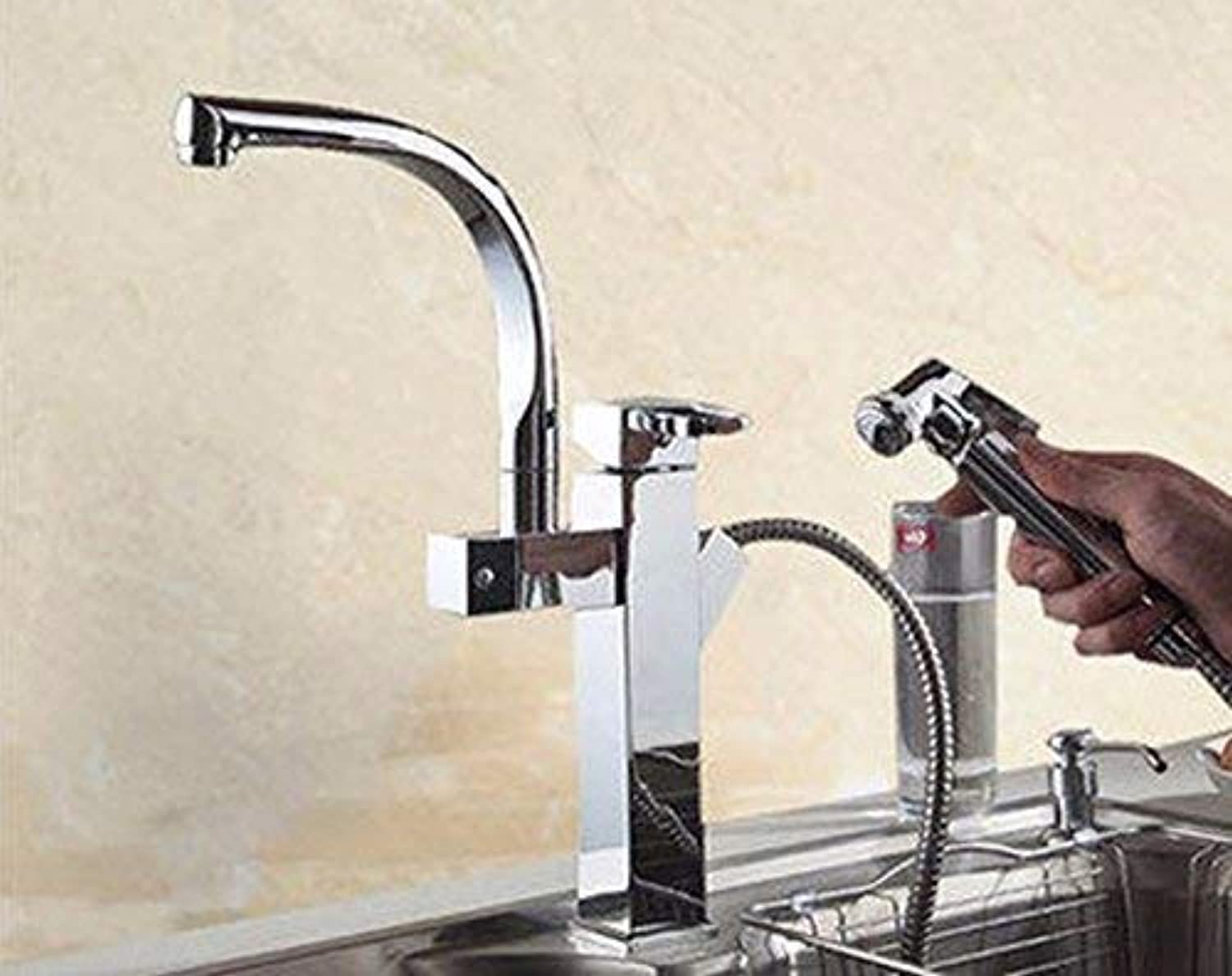 Oudan Copper kitchen hot and cold swivel pull out single hole of the water tap