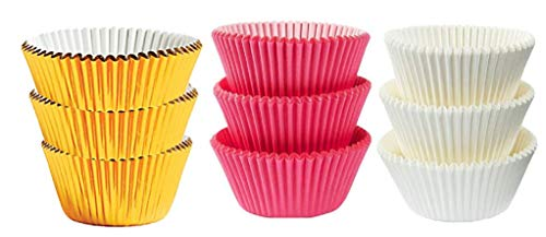 Large Jumbo Texas Muffin / Cupcake Cups White flutted Cupcake Liners Baking Cups (50White 25Pink 25Gold Foil)