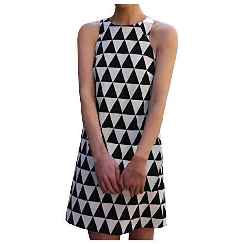 Masrin Damenkleid Mode Diamond Plaid Printing Minikleid Ärmelloses Rundhalsausschnitt Knielanges Kleid Etuikleid(XL,Schwarz)