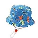 SKYWPOJU Sombrero para el Sol para bebés, niñas UPF 50, Sombrero para niños Anti-UV, Sombrero de Verano para niños, Gorra con Correa Ajustable de 1 a 9 años (Color : Blue, Size : 9-12 Months)