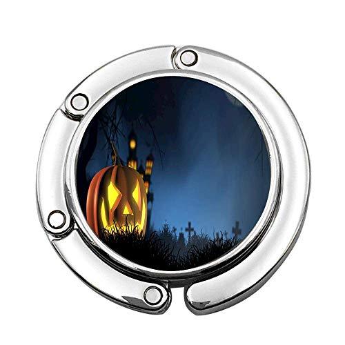 Schwarzer Halloween Kürbis Laterne klappbarer Kleiderbügelhalter Universeller Tischhaken für Handtaschenhandtasche