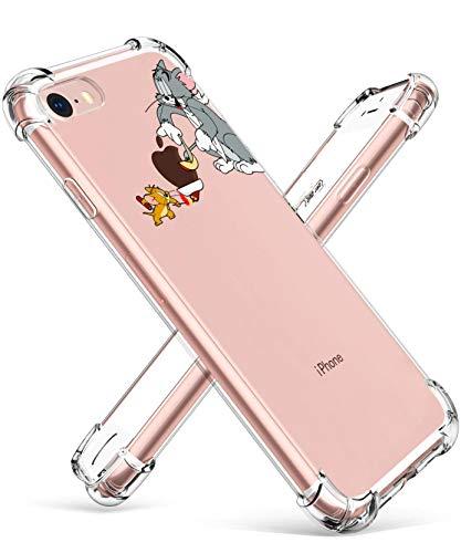 Darnew CatMouse Custodia per iPhone 7/8/SE 2020 Casi, Cartone Animato Carino Morbido TPU Freddo Divertimento Divertente Cover per Bambini Ragazze Donne Protettivo Custodia per iPhone 7/8/SE 2020
