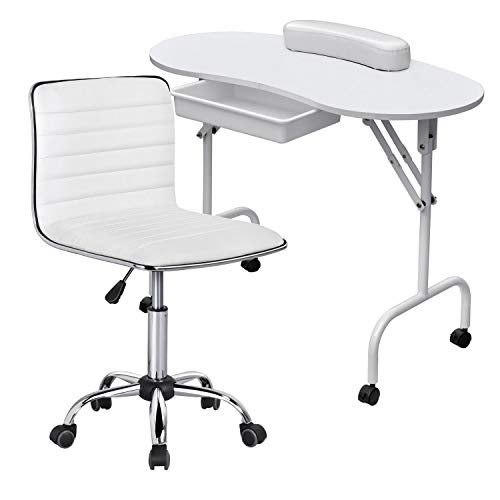 Yaheetech 37-inch Portable & Foldable Manicure Table Nail Desk Workstation for Spa Beauty Salon and...