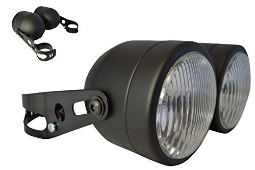 Black Dominator Streetfighter Retro driewieler motorfiets Dual dubbele 35W koplamp met 32 mm - 40 mm klemmen