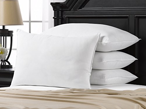 Ella Jayne Home Soft Queen Size Bed Pillows- 4 Pack White Hotel Pillows- Gel Fiber Filled Soft Gel Pillows with Hypoallergenic Classic Cover- Best Pillow for Stomach Sleepers