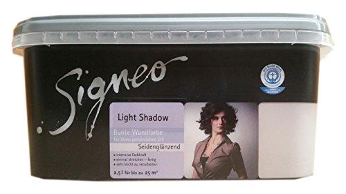 Signeo 2,5 L. Bunte Wandfarbe, LIGHT SHADOW, Lila-Grau seidenglänzend, elegant-schimmernde Oberflächen, Innenfarbe