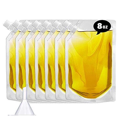 Flasks Set for Liquor Cruise Kit,Rum Runner Plastic Liquor Bags to Sneak Alcohol(8oz X 7)