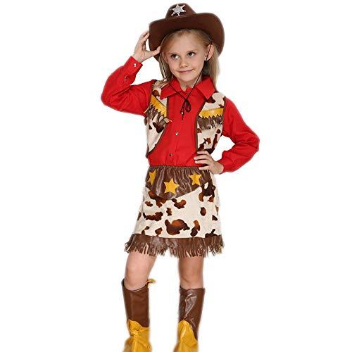Zhao Li Disfraces para niños y niñas, Disfraz de Vaquero Oficial de policía, Cosplay de Halloween para niños, Vestido de Fiesta de Baile Unifom, 110 cm