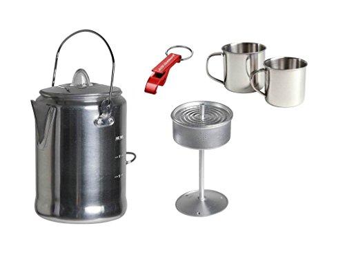 AOS-Outdoor Alu Camping Trekking Kaffeekanne mit Percolator + 2X Edelstahltasse + Flaschenöffner