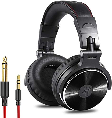 OneOdio Over Ear Kopfhörer mit Kabel Mikrofon Share-Port Adapter-frei Professionelle DJ Headphones für Podcast, Recording, Monitoring AMP PC TV Geschlossene Studiokopfhörer Schwarz