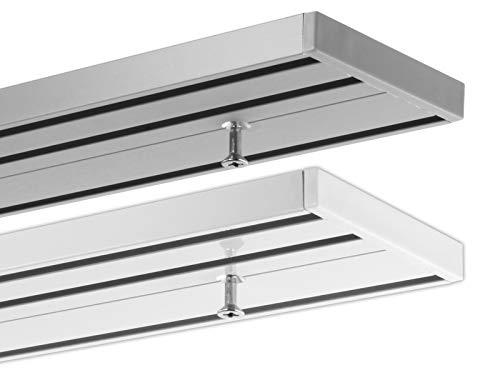Gardineum 340 cm Gardinenschiene, alle Längen bis 4,60 m möglich, Vorhangschiene Aluminium, 3-läufig Objetkschiene - vorgebohrt! weiß, glatte glänzende Oberfläche