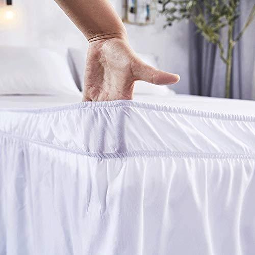 WWQQ Gonna da Letto per Bianco Hotel Avvolgere Camicie da Letto 150cm/180cm/200cm Elastiche Senza Superficie del Letto Twin/Full/Queen/King Size 38cm Altezza per La Decorazione Domestica