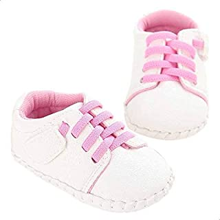 Mix and Max Faux Leather Low-Top Lace-Up Shoes for Girls - White and Pink, 12 - 18 Months
