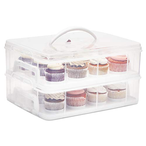 2 Tier Cupcake Carrier with Lid, Holds 24 Cupcakes (13.5 x 10.25 x 7.5 In)