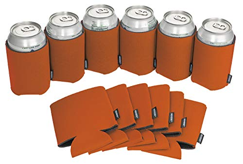 Koozie Can Cooler Blank Beer Koozie for Cans, Water Bottles Bulk Insulated Beverage Holder Personalized Gifts for Events, Bachelorette Parties, Weddings, Birthdays-Pack of 12 Sleeves (Burnt Orange)