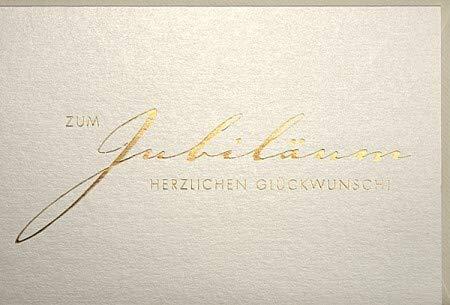 Jubiläumskarte Schrift Gold auf Perlmutt