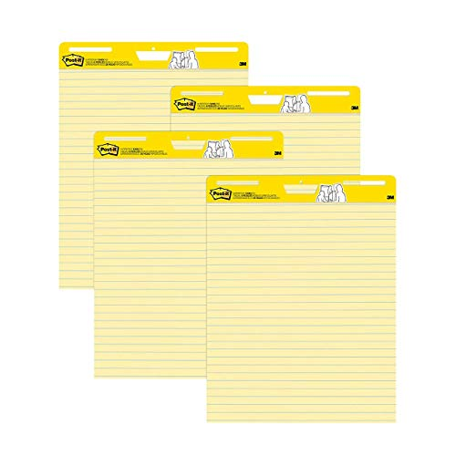 Post-it Super Sticky Easel Pad, 25 x 30 Inches, 30 Sheets/Pad, 4 Pads (561VAD4PK), Yellow Lined Premium Self Stick Flip Chart Paper, Super Sticking Power