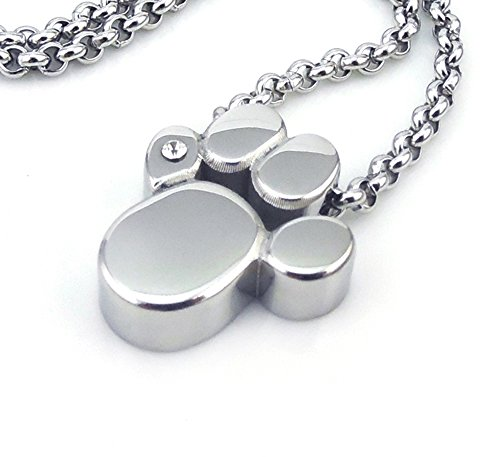 Pfote Magnet Kettenanhänger mit Gliederkette Hund Katze Tatze Bär Energetix 4You 714 Silber mit Swarovski Crystal Magnetix Design