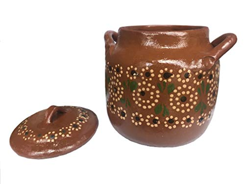 Olla de Barro para Fijoles, Atole, Sopas, Clay Pot Red Clay with lid for boiling beans 8 cups (Small, Traditional Decor)