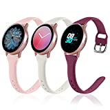 (3 Pack) Vcegari Slim Band for Samsung Active 2 Watch 40mm 44mm, Galaxy Watch 3 41mm/Galaxy Watch 42mm/Gear S2 Classic/Gear Sport Bands, 20mm Silicone Strap for Women Men, Beige/Fuchsia/Pink, Small