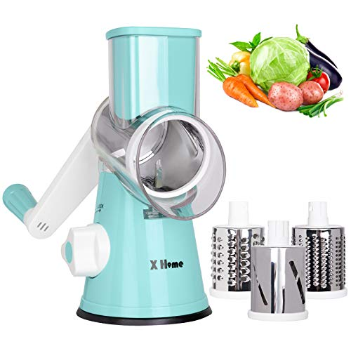 X Home Rotary Cheese Grater Shredder  3 Drum Blades Manual Vegetable Slicer Nut Grinder with Strong Suction Base Easy to Clean Blue