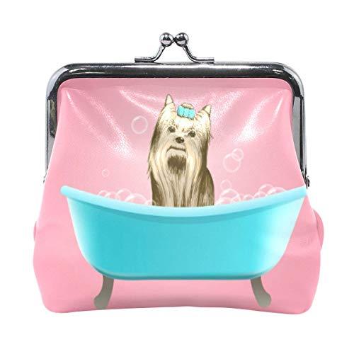 Linda belleza perro tomar baño en monedero rosa retro bolsa de dinero con hebilla de cierre de beso, cartera para mujeres y niñas