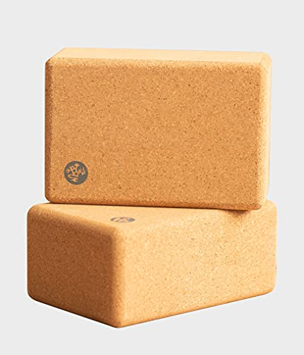 Manduka Cork Yoga Block 2-Pack, Resilient Material, Portable Fit & Easy to Grip, Comfortable Contoured Edges