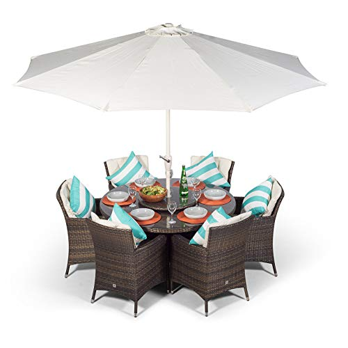 Savannah Rattan Dining Set | Round 6 Seater Brown Rattan Dining Set | Outdoor Poly Rattan Garden Table & Chairs Set | Patio Conservatory Wicker Garden Dining Furniture with Parasol & Cover