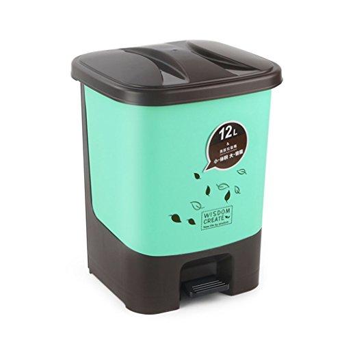 PRIDE Vuilnisbakken Household toiletten Overdekt vuilnisbakken Plastic woonkamer Vuilnisbak Grote keuken prullenbak (Color : Green, Size : 16L)