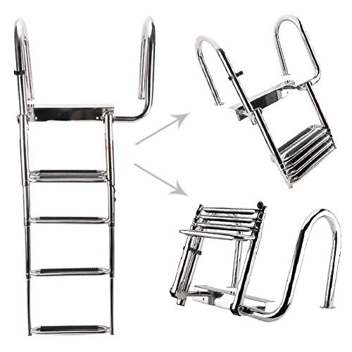 NovelBee 4 Step Removable Stainless Folding Pontoon Boat Ladder,Telescopic Folding Rear Entry Dock Ladder with Extra Wide Step (to The Right)