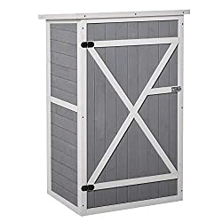 ✅COMPACT: Great for fitting into smaller spots without compromising on storage space. ✅FIR WOOD BODY: Finished with waterproof paint for protection against mild elements, it is durable for a long-term addition to your garden. ✅TWO INNER SHELVES: Allo...