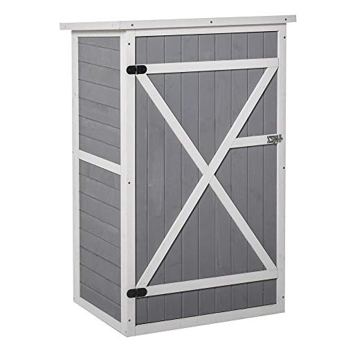 Outsunny Wooden Garden Storage Shed Fir Wood Tool Cabinet Organiser with Shelves 75L x 56W x115Hcm Grey