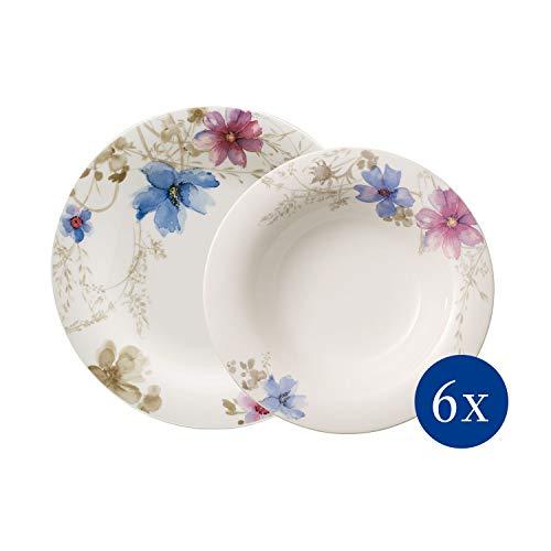 Villeroy & Boch - Mariefleur Gris Basic Tafel-Set, 12 tlg., Premium Porzellan, spülmaschinen-, mikrowellengeeignet, weiß/bunt