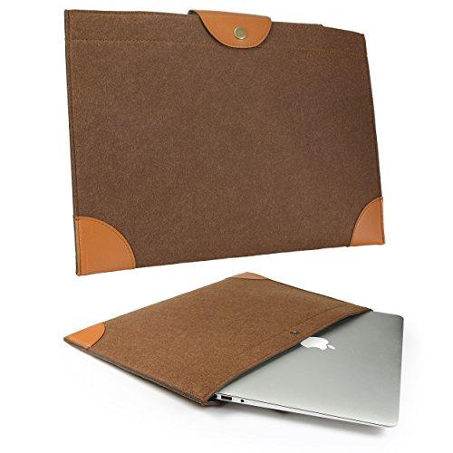Urcover Universal Filz Laptoptasche 15,4 Zoll (51 cm) I Laptophülle I Ultra Slim Design mit Druckknopf-Verschluss für Notebook, MacBook und Ultrabook Braun