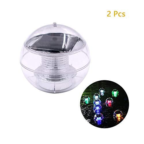 2 stks hoogwaardige waterdichte led licht met zonne-energie drijvende roteren opknoping bal lamp voor tuin yard zwembad worden gebruikt binnen en buiten