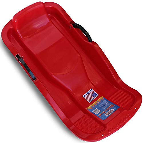 Flexible Flyer Winter Heat Snow Sled. Plastic Sno Slider Bobsled, 38 x 18 x 7 inches