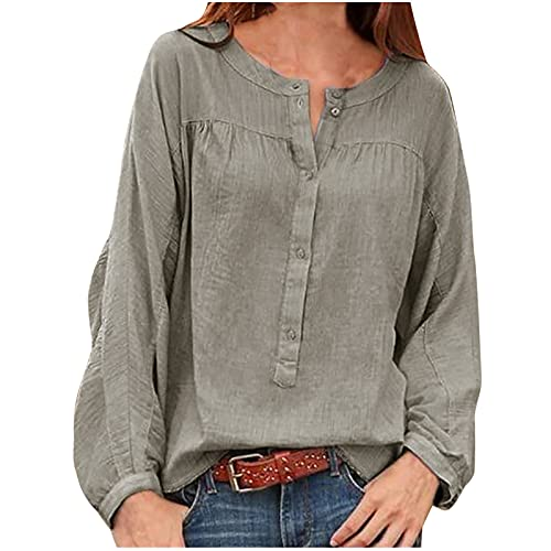 Women's Casual Cotton Linen Tunic Tops Loose Long Sleeve Quarter Button Up Vintage Peasant Tee Shirt Tshirt Blouse Gray