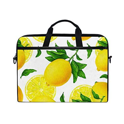 LiuBT - Bolsa de hombro para ordenador portátil, diseño de limón, color amarillo