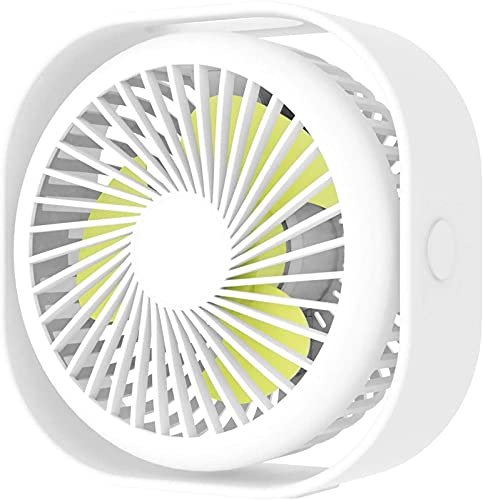 HTOUR Ventilador de Escritorio portátil pequeño, Ventilador de Mesa con USB Recargable, Ventilador Personal silencioso de 3 velocidades para Oficina en casa y Viajes, Color Blanco
