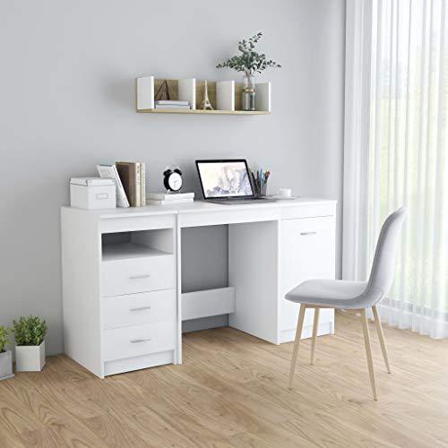 Extaum Schreibtisch Computertisch Arbeitstisch Büromöbel Weiß 140 x 50 x 76 cm Spanplatte Mit 3 Schubladen und 1 Tür