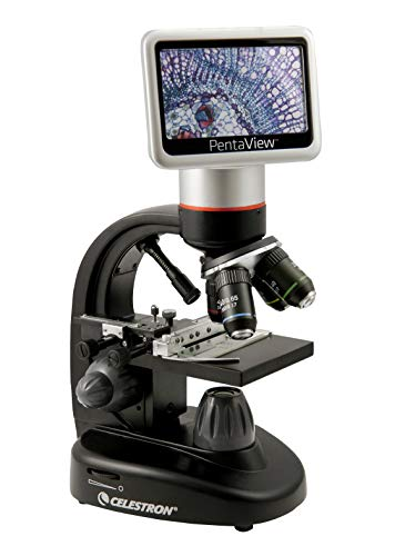 Celestron – PentaView LCD Digital Microscope– Biological Microscope with a Built-In 5MP Digital Camera – Adjustable Mechanical Stage –Carrying Case and 4GB Micro SD Card
